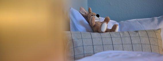 Kuscheltier im Kinderbett