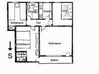 Grundriss von Wohnung ELSE und ANTON. Wohnung RUBI im Erdgeschoß hat statt Balkon eine Terrasse.