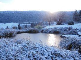 Winterlicher Sonnenaufgang am Schwimmteich