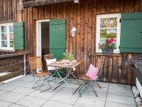 Terrasse der Ferienwohnung Grün im Gästehaus Anna