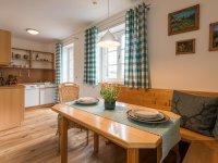 Offene Wohnküche in der Ferienwohnung Grün