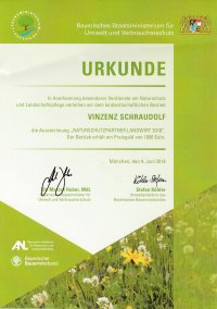 Urkunde Naturschutzpartner Landwirt 2018
