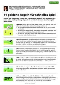 11 goldene Regeln für schnelles Spiel