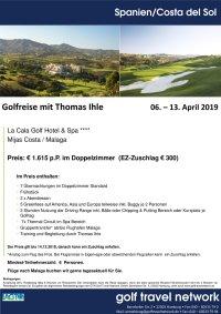 Golfreise Malaga / 6. - 13. April 2019
