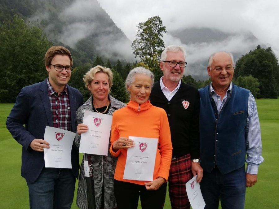 Die Clubmeister 2019 v.l.: Michael Fischer, Conny Brühl, Ingeborg Hable, Richard Domagalla und Präsident Hans Baldauf