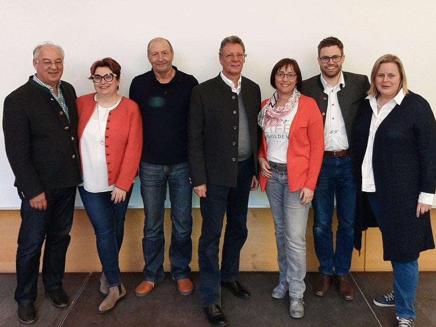 V.l. Hans Baldauf, Barbara Lacher, Wolfgang Brühl, Jürgen Schwartges, Gaby Geisser, Michael Fischer und Susanne Zinner