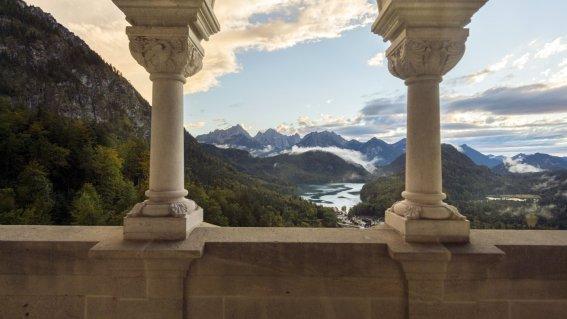 Eindrucksvolle Aussicht vom Schloss Neuschwanstein