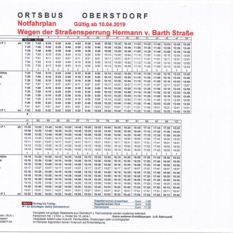 Ortsbus Fahrplan