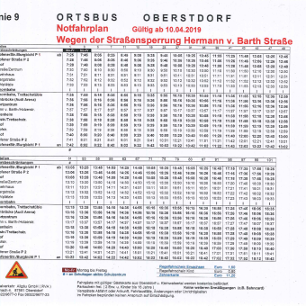 Notfahrplan Ortsbus Oberstdorf