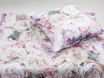 Decke und Kissen Vintage Rose Leinen (00057)