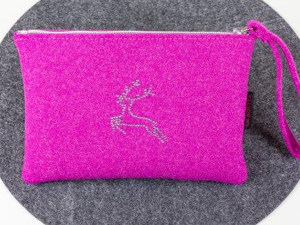 Filztasche mit Strass Hirsch Pink (00111)