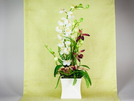 Orchideengesteck mit Gefäß (00153)