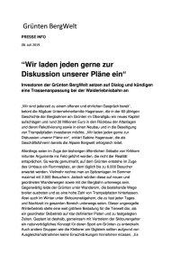 Presse Info - 08.07.19 - Wir laden jeden gerne zur Diskussion unserer Pläne ein