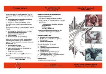 Faltblatt der Bayerischen Polizei- Sexueller Missbrauch von Kindern