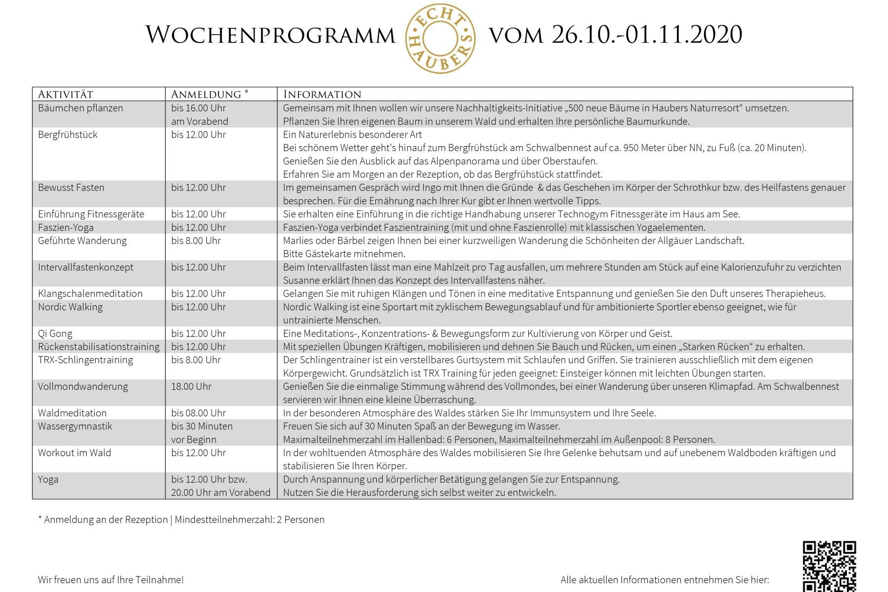 Wochenprogramm NEU  26.10.-1.11.20.2