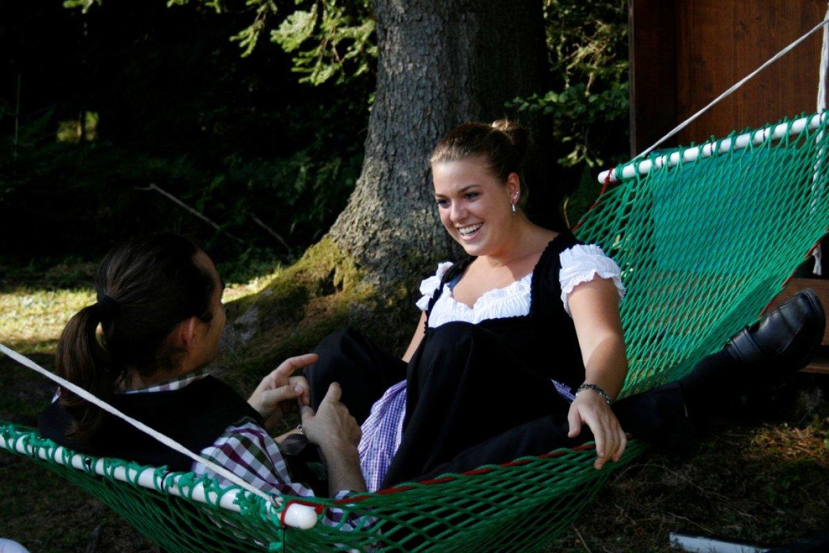 Eine nette Möglichkeit seine Freizeit zu genießen sind unsere Wäldhängematten am Klimapfad