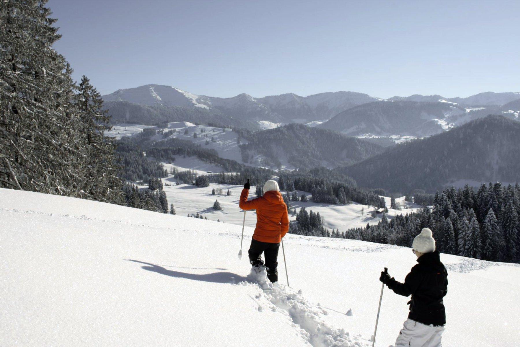 im tiefen Pulverschnee ist das Schneeschuhwandern ein enormer Wintergenuss