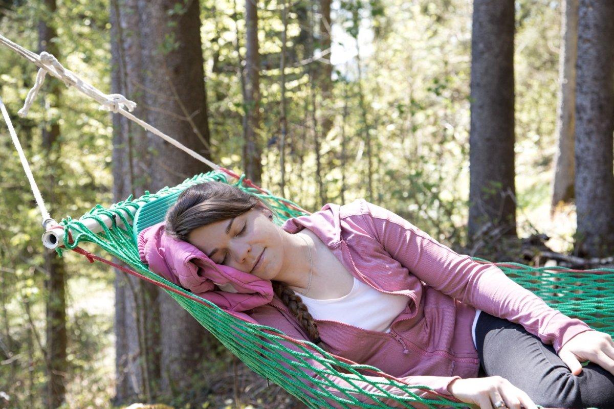 suchen Sie sich ein ruhiges Plätzchen in der Waldhängematte