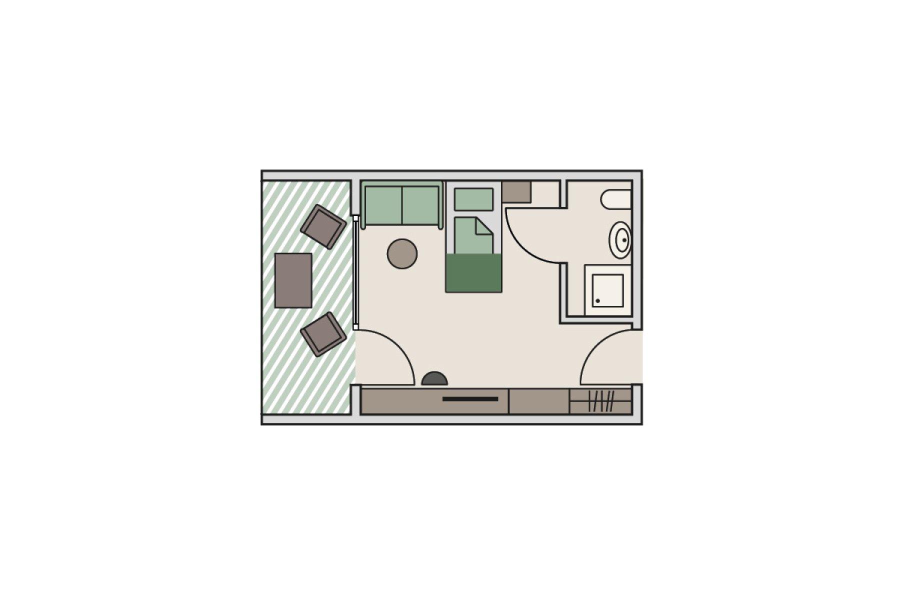 Zimmergrundriss Landhaus - Einzelzimmer