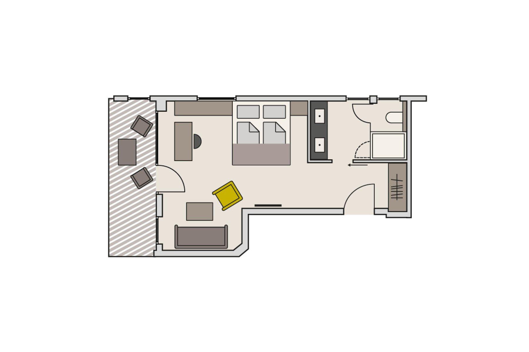 Zimmergrundriss Gutshof - Themenzimmer Schwarzenbach (Beispiel)