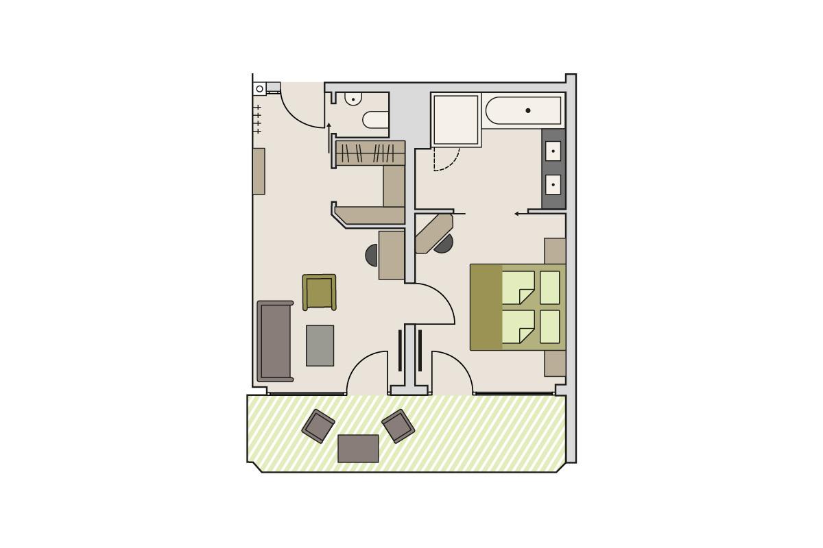 Zimmergrundriss Gutshof - Themenzimmer Bergheu (Beispiel)
