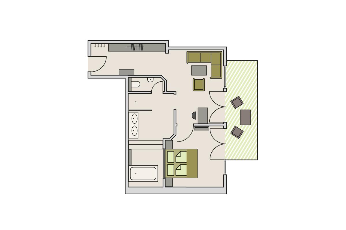 Zimmergrundriss Bergheu Lodge
