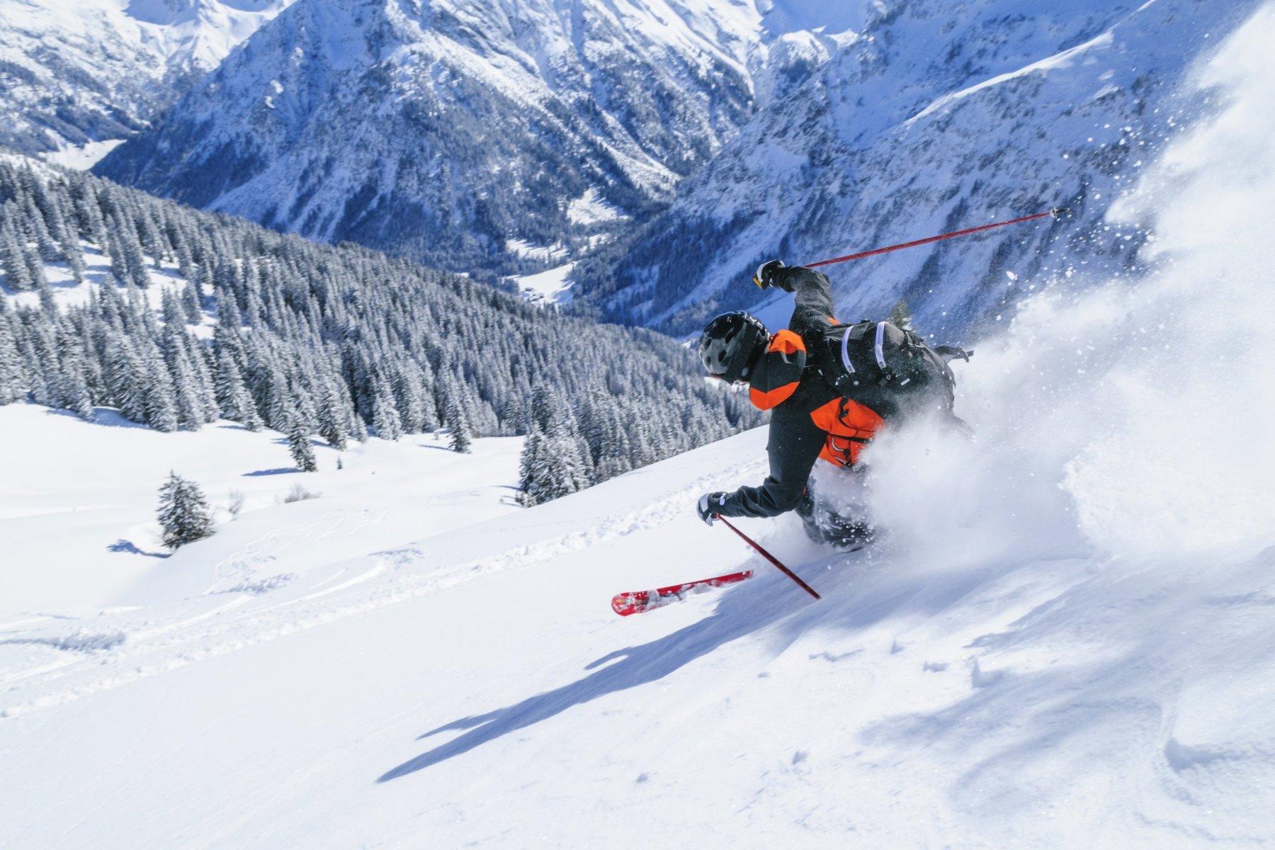 Skifahren im Pulverschnee