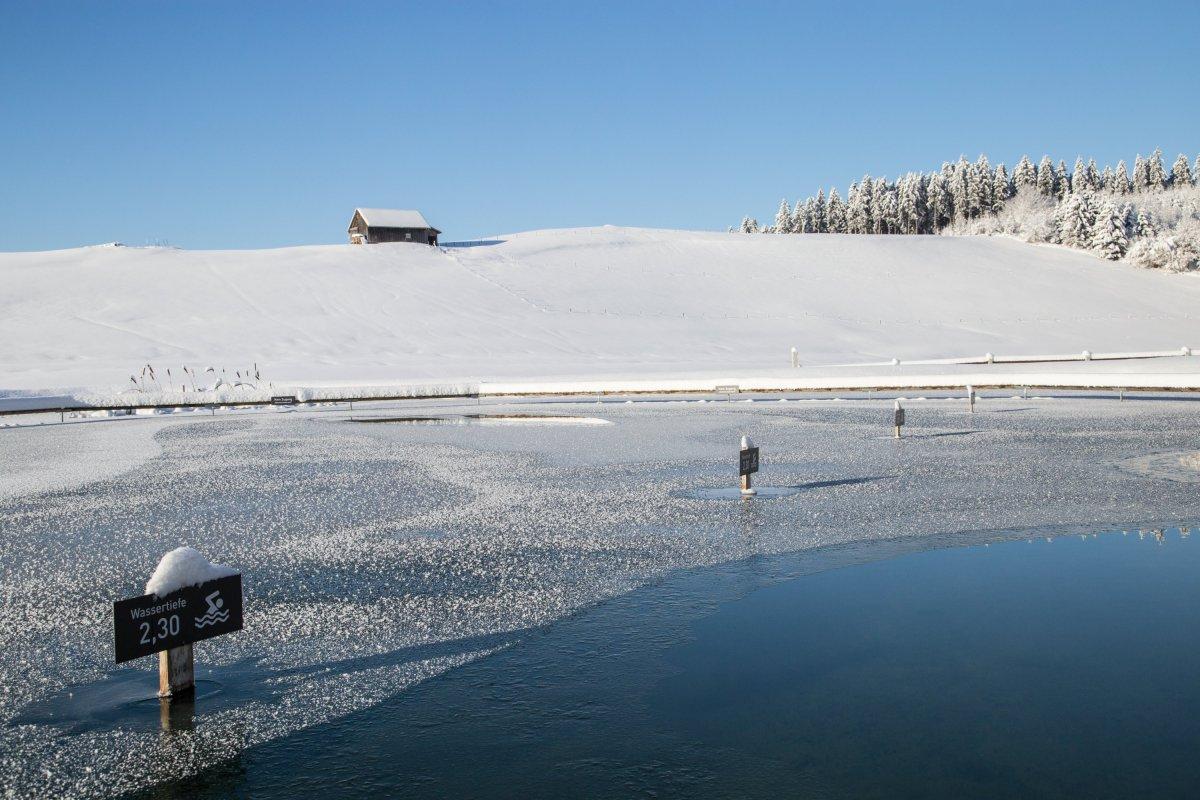Zugefrorener Natursee