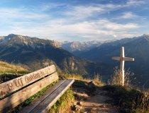 Kurze rast mit traumhaften Blick auf die Allgäuer Alpen.