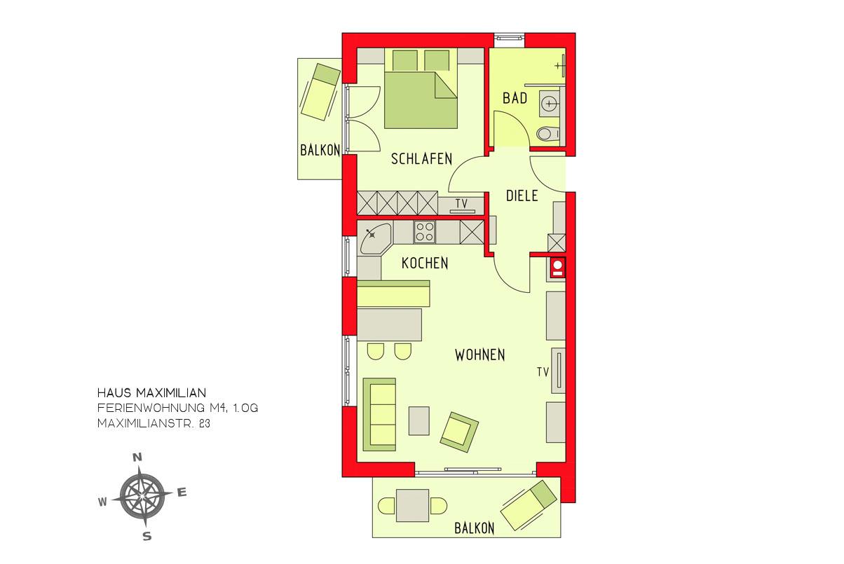 Ferienwohnung Haus Maximilian, Huber / Ferienwohnung M4 (2508944), Oberstdorf, Allgäu (Bayern), Bayern, Deutschland, Bild 3