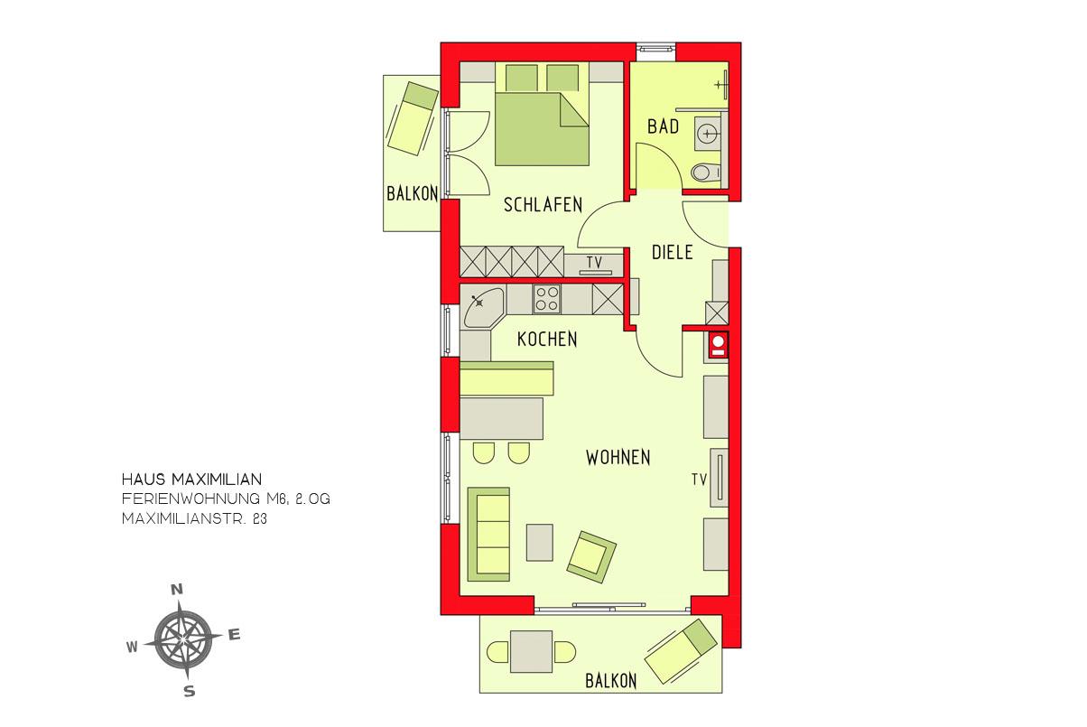 Ferienwohnung Haus Maximilian, Huber / Ferienwohnung M6 (2508946), Oberstdorf, Allgäu (Bayern), Bayern, Deutschland, Bild 3
