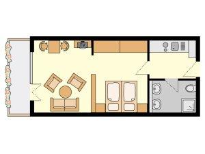 Gundriss Beispiel Wohnung Nr. 2, 5, 8, 9