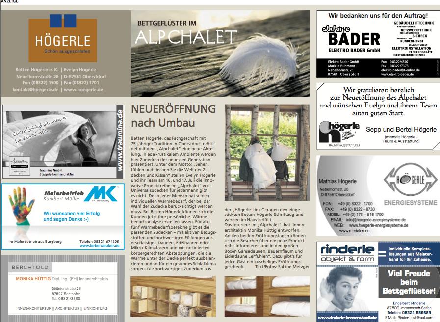 Neueröffnung Alpchalet in Allgäuer Zeitung