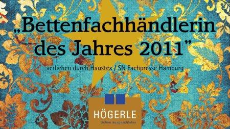 Plakat Bettenfachhändlering des Jahres 2011