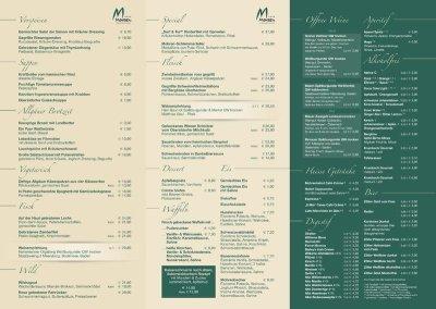 Speisekarte Hotel Mohren