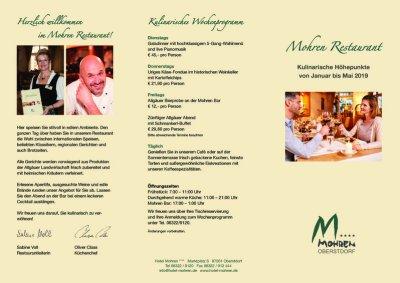 Hotel Mohren Restaurantflyer Januar bis Mai 2019