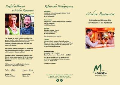 Restaurantflyer Dezember bis April 2020