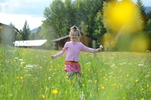 Tollendes Mädchen auf einer grünen Sommerwiese