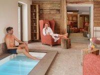 Wellness-Wohnzimmer mit Zugang zum Außen-Sole-Pool