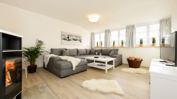 Ferienwohnung Löwenzahn Wohnzimmer mit Kaminofen
