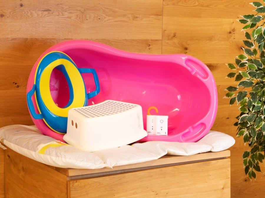 Badewanne, Toilettensitz, Schemelchen, Babyphone, Wickelauflage