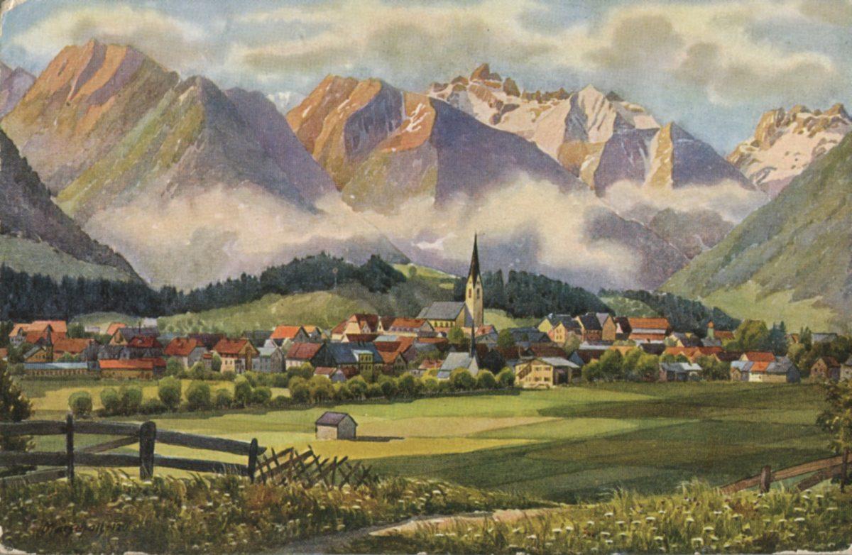 Oberstdorf auf einer alten Künstlerpostkarte