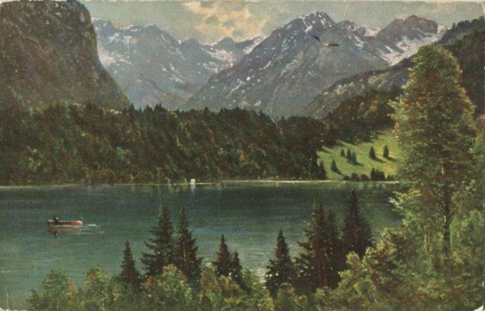 Freibergsee auf einer Künstler-Postkarte