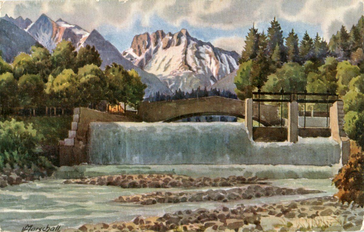 Mühlenbrücke auf einer Postkarte