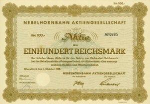Aktie 100 RM - Nebelhornbahn AG