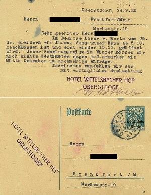 Preisauskunft anno 1920