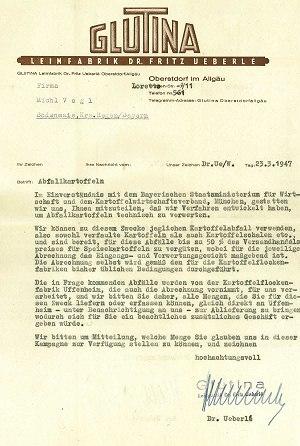 Brief: Abfallkartoffeln (Glutina)