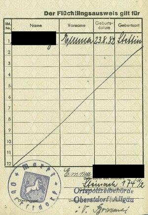 Flüchtlingsausweis: Geburtsdatum und Ort