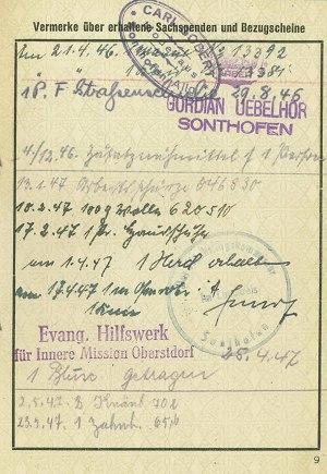 Flüchtlingsausweis: Sachspenden und Bezugscheine