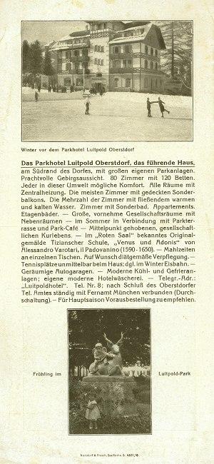 Parkhotel Luitpold 1927 Seite 2